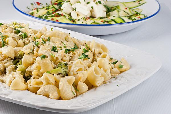 Broccoli Orecchiette  and Courgette & Feta Salad