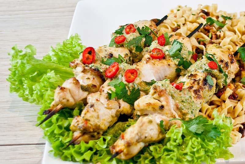 Chicken Skewers, Satay Sauce & Fiery Noodle Salad