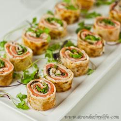 Salmon, Cream Cheese Pancake Rolls – gluten-free & low FODMAP
